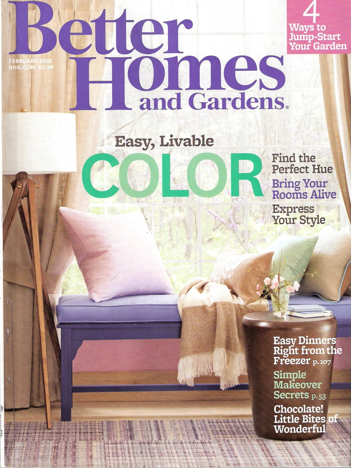 Better Homes and Gardens Magazine February 2013 Easy, Livable Color