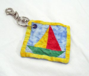 Sailboat Quilt Block Key Chain