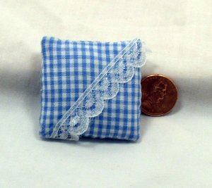 Blue Gingham Pillow 1:12 Dollhouse Miniature