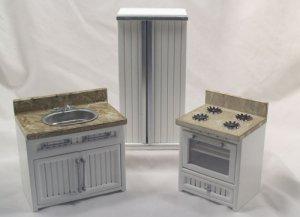 White Bistro Kitchen 1:12 Miniature Dollhouse