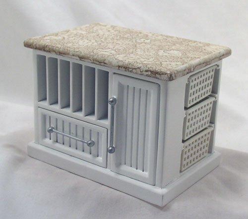 White Bistro Island 1:12 Dollhouse Miniature