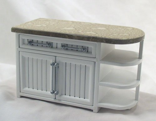 White Bistro Round End Cabinet. 1:12 Miniature