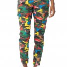Almost Famous Juniors Denim - Drawstring Jogger Pants for Women w Cargo Pockets, Med - Bright Camo