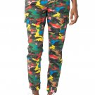 Almost Famous Juniors Denim - Drawstring Jogger Pants for Women w Cargo Pockets, Large - Bright Camo