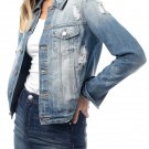 Almost Famous Juniors Denim Distressed Jackets for Women, Large - Medium Wash