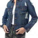 Almost Famous Juniors Denim Distressed Jackets for Women, Medium - Dark Wash