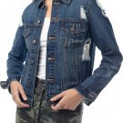 Almost Famous Juniors Denim Distressed Jackets for Women, Large - Dark Wash