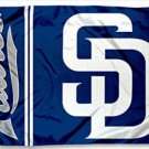 San Diego Padres America Flag 3X5Ft Banner USA Polyester with Brass Grommets