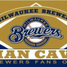 Milwaukee Brewers Man Cave Flag 3X5Ft Banner USA Polyester with Brass Grommets