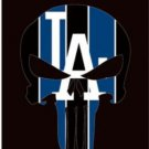 Los Angeles Dodgers Skull Vertical Flag 3X5Ft Banner USA Polyester with Brass Grommets