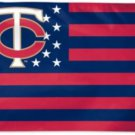 Minnesota Twins Stars and Stripes Flag 3X5Ft Banner USA Polyester with Brass Grommets