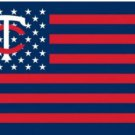 Minnesota Twins USA American Flag 3X5Ft Banner USA Polyester with Brass Grommets