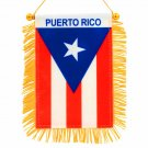 4 X 6 Inch Puerto Rico Window Hanging Flag - Rearview Mirror & Double Sided Mini Banner