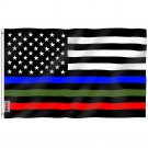 Fly Breeze Thin Blue Red and Green Line USA Flag with Brass Grommets 3X5Ft Banner USA Polyester