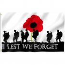 Fly Breeze Lest We Forget Flag with Brass Grommets 3X5Ft Banner USA Polyester