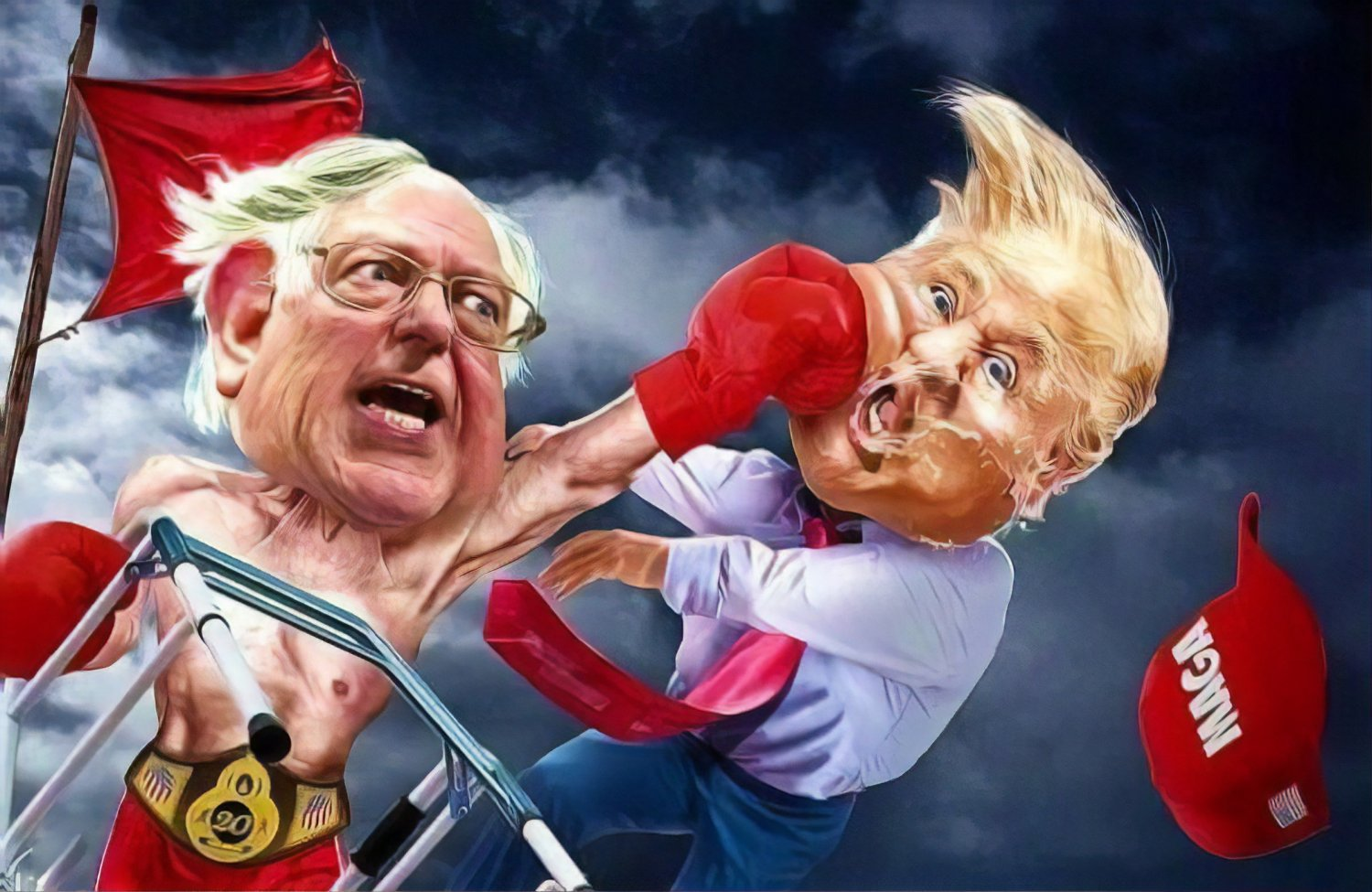 Trump Flag - Bernie Sanders Flag 3x5 Foot Fighting Knock Out For The President USA 2020 Banner