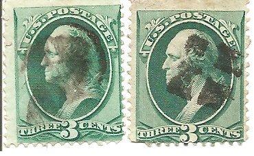 Scott 147 - 1870,71 Washington three cent stamps (2)