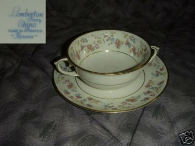 Lamberton Reverie 3 Cream Soup Cup and Plate Sets