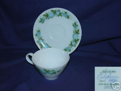 Noritake Blue Orchard Pattern 3 Cup and Saucer Sets