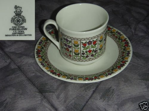 Royal Doulton Fireglow 4 Cup and Saucer Sets