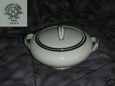 Noritake Pattern 5683 Platinum Trim Sugar Dish with Lid