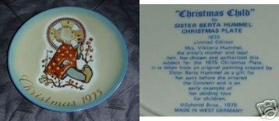 Berta Hummel Christmas Child 1975 Collector Plate