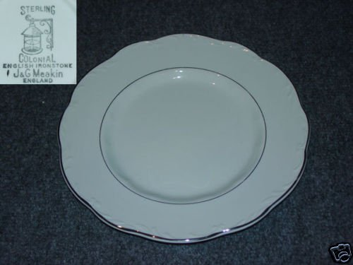 J and G Meakin Silver Baroque 6 Dinner Plates