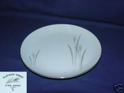 Fine China of Japan Platinum Wheat 4 Bread Plates