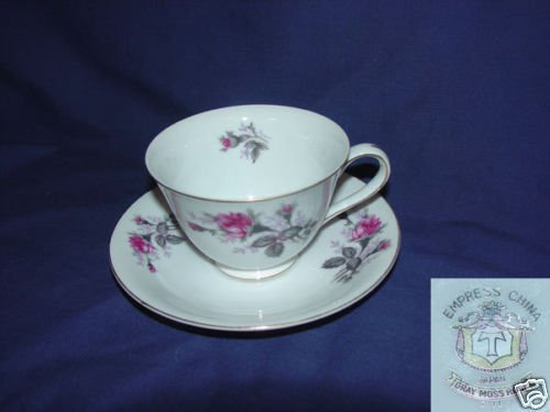 Empress Gray Moss Rose 6 Cup and Saucer Sets