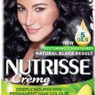 Garnier Nutrisse Creme Black Hair Dye Permanent with NEW 5 Oils Conditioner - 1.0 Black