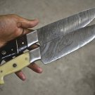 Custom Pair of Handmade Damascus Steel Japanese Chef's Kitchen Knives