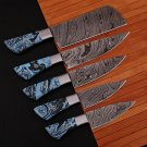 Unique & Custom Hand Forged Damascus Steel Chef's Kitchen Knife Set With Sheath