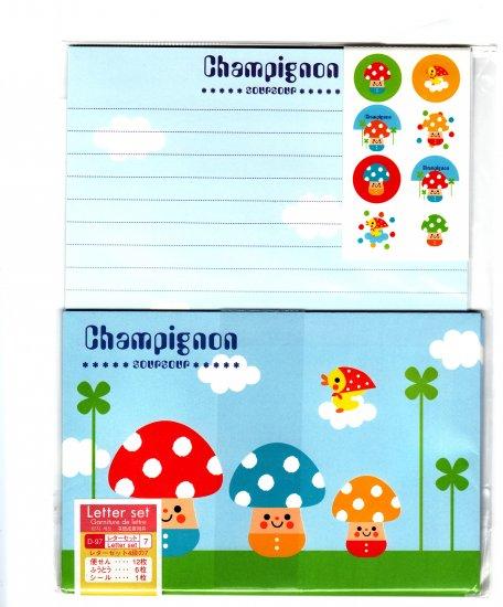 Daiso Japan Champignon Mushroom Letter Set with Stickers Kawaii