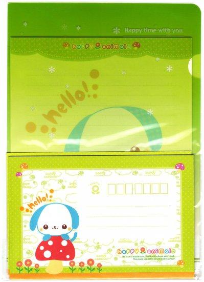 Japan Happy Animals Puppy Letter Set in Folder Kawaii