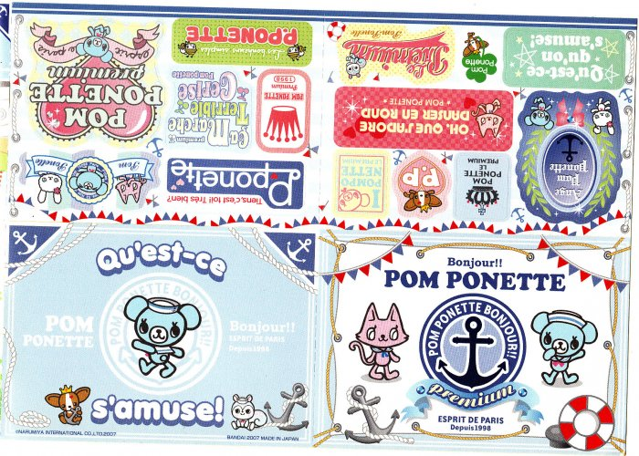 Bandai Japan Pom Ponette Sticker Booklet Kawaii