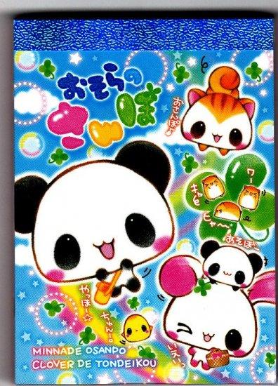 Kamio Japan Panda Clover Friends Mini Memo Pad Kawaii