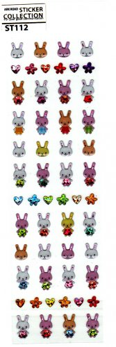 Ark Road Japan Rabbits Sticker Sheet (B) Kawaii