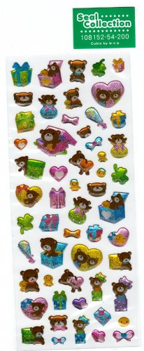 Cubix Japan Bear Presents Sticker Sheet Kawaii