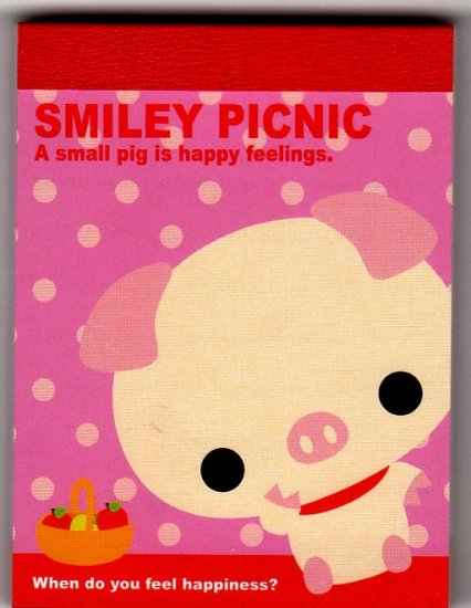 Q-Lia Japan Smiley Picnic Mini Memo Pad with Sticker Kawaii