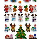 Cubix Japan Merry Christmas Snowmen and Santa Sticker Sheet Kawaii
