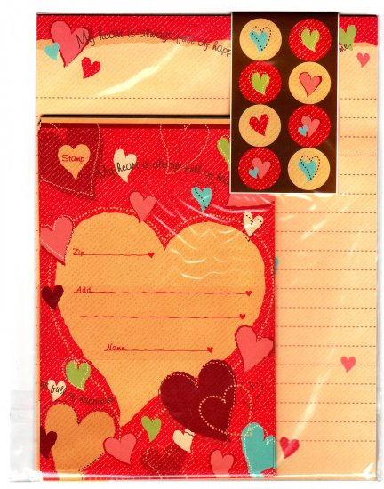 Daiso Japan Hearts of Happiness Letter Set with Stickers Kawaii