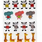 Ark Road Japan Pandas Giraffes Elephants Sticker Sheet Kawaii