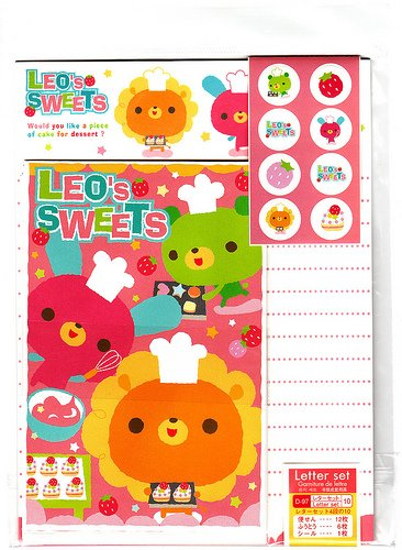 Daiso Japan Leo's Sweets Letter Set with Stickers Kawaii