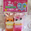 Lemon Japan Hamster Diecut Eraser with Roller Set of 2 (A) Kawaii
