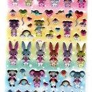 Lemon Japan Cute Collection Cute Animals Glitter Puffy Sticker Sheet Kawaii