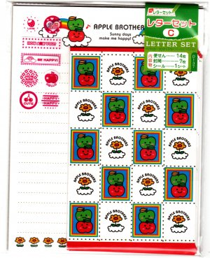 Daiso Japan Apple Brothers Letter Set with Stickers Kawaii