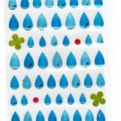 Kamio Japan Rain Drops Epoxy Sticker Sheet Kawaii