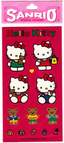 Sanrio Japan Hello Kitty and Teddy Sticker Sheet 1994 Kawaii