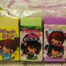 Kamio Japan Miracle Girls Mini Erasers Set of 7 Rare Kawaii
