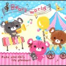 Kamio Japan Bear's World Mini Memo Pad Kawaii